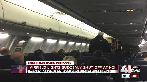 KCI airfield lights temporarily down, flights diverted