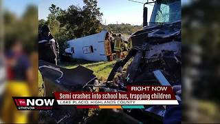 Students airlifted to hospital after bus crash - Video