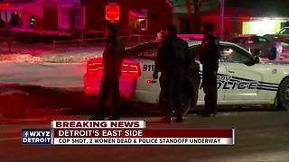 Detroit cop shot during barricaded situations - Video
