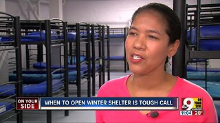 When should homeless shelters open for the winter?