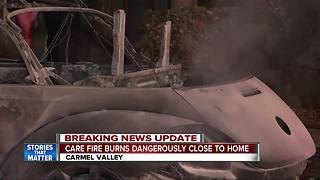 Car fire burns dangerously close to Carmel Valley home - Video