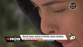 San Marcos Students Paint Murals for Florida Shooting Victims - Video