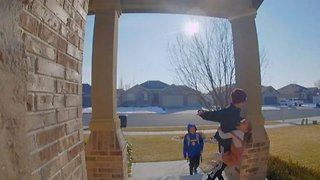 Little girl sends boy flying off porch with unintended judo move