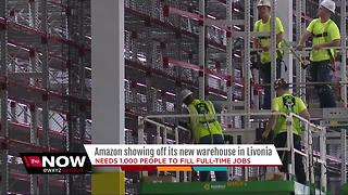 Amazon is showing off its new warehouse in Livonia - Video