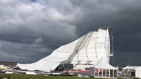 Storm Ali violently rips away huge marquee tent
