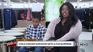 Childhood cancer survivor gets shopping spree