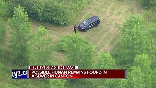 Possible human remains found in sewer in Canton - Video