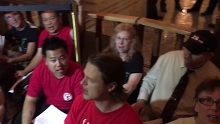 Healthcare Protesters Rally At Assembly Speaker's Office For Single-Payer Bill