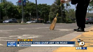 Coronado's sandman cited over art on road - Video
