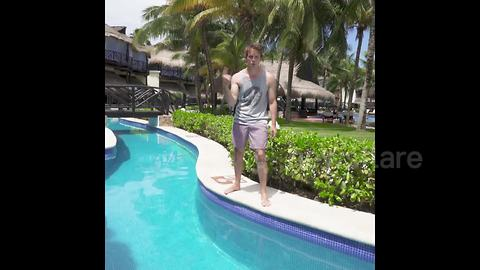 Magician vanishes after diving foot-first into a pool