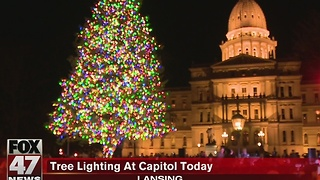 Lansing celebrates tree lighting at Capitol - Video