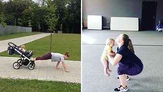 Fitness Fanatic Mother Includes Baby Son In Workouts Even Using Pram As Help