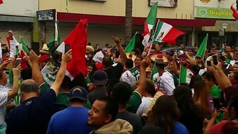 East Los Angeles Road Closed for Mexico Fans Celebrating World Cup Victory
