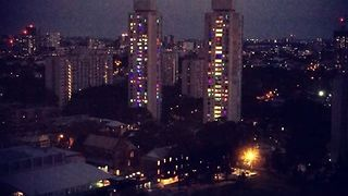 Public Housing Residents Light Windows to Protest Planned Demolition