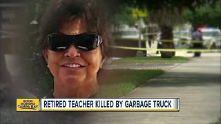 Retired teacher killed by Tampa garbage truck - Video