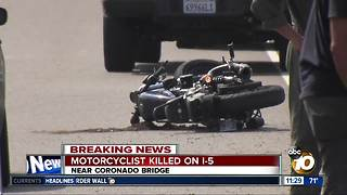 Motorcyclist killed in collision on I-5 near Coronado Bridge - Video