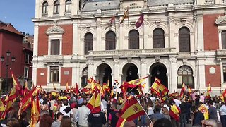 Supporters of Spanish Unity Rally in Valladolid on Eve of Catalan Vote - Video
