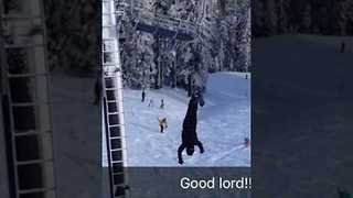 Man Hanging From Ski Lift Gets Dramatic Rescue - Video