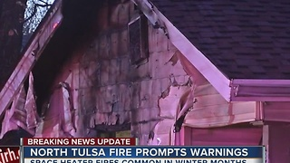 North Tulsa House Fire Prompts Warnings To Public - Video