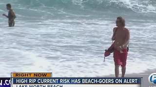 High rip current risk has beach goers on alert - Video