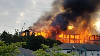 Huge Abandoned Mill Burns in Sanford, Maine - Video