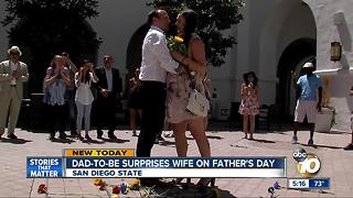 Dad-to-be surprises wife on Father's Day - Video