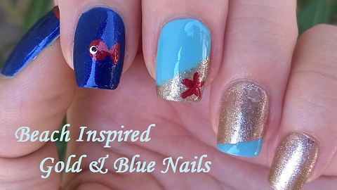 Blue & Gold Beach Inspired Nail Art For Summer