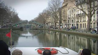 Cruise on the Saint-Martin Canal in Paris, France - Video