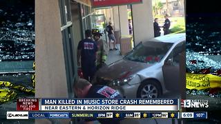 Man killed in music store crash remembered - Video
