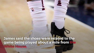 """LeBron James Sends Trump Message With """"Equality"""" Shoes, Takes Them Off At Half"""