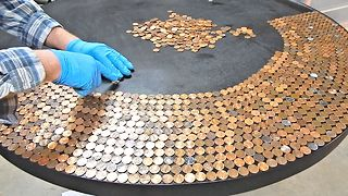 How To Create An Incredible Penny Table Top - Video