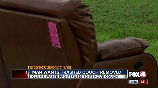 Cape resident says Waste Pro won't pick up old couch - Video