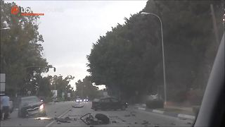 Intense head on car crash in Marbella, Spain - Video