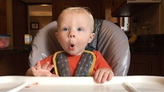Cute Baby Gets Ridiculously Excited About Food - Video