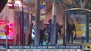 Reduced free bus hours impact city students - Video