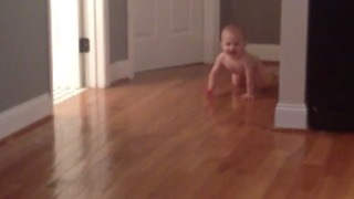 Runaway Nakey Baby Avoiding Bathtime  - Video