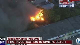Crews battle fire in Riviera Beach