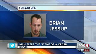 Man flees scene of a crash - Video