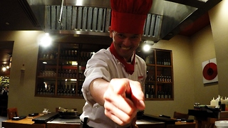 Teppanyaki master chef performs amazing tricks with eggs
