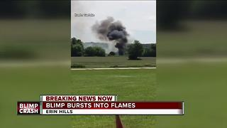 Blimp crashes and explodes into flames near U.S Open golf course - Video