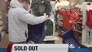 Snow shovels and snow melt salts selling out quickly in snowy conditions - Video