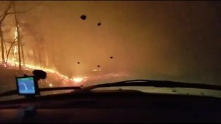Wildfire Evacuee in Scary Drive Down Mountain as Blaze Rages - Video