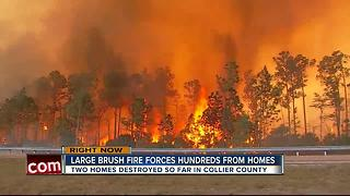 large brush fire forces hundreds from homes