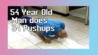 54 Year Old Man Does 34 Pushups - Video