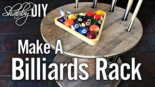 Make a billiards rack from a wooden spool