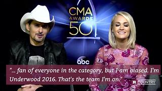 Brad Paisley and Carrie Underwood talk 2016 CMAs | Rare Country - Video