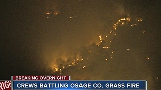 Firefighters battling grass fire in Osage County - Video