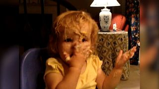 Little Girl Washes Face With Mashed Potato