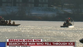 Search for man who fell through ice - Video