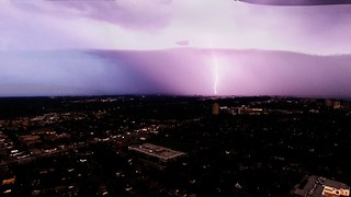 Lightning storm over Ottawa captured by high altitude drone